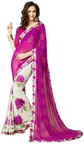 Fab Glory® Fab Glory Fashion Women's Georgette Floral Printed Saree With Blouse Piece