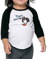Babyfat Baby Unisex Plain Raglan Pingu On Thin Ice Baseball Shirts Tee
