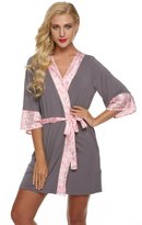 Ekouaer Lounging Robe Womens Spa Robe Mid Length Nightwear Lingerie (Gray, XL)