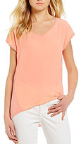 Calvin Klein Jeans V-Neck Cap Sleeve Lace Trim Mixed Media Top