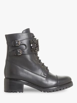 Dune Pasadena Jewel Strap Biker Boots, Black