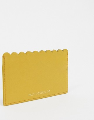 Paul Costelloe Leather Scalloped Edge Card Holder In Mustard