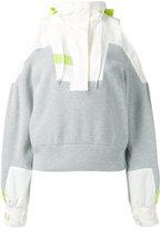 Sacai deconstructed cold shoulder jumper
