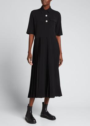 Ganni Pleated Melange Suiting Shirtdress