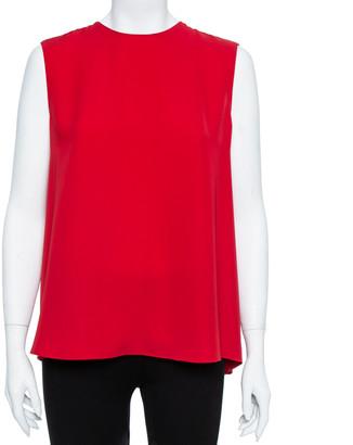 Carolina Herrera Red Plisse Back Sleeveless Blouse M