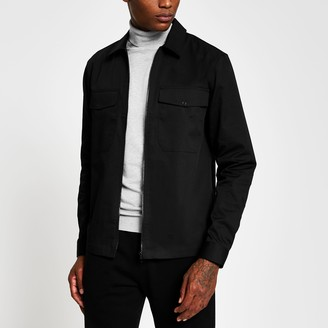 River Island Mens Black long sleeve zip front over shirt