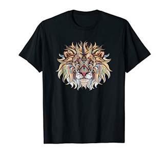 Lion Print Colorful Lion Head Graphic Apparel T-Shirt