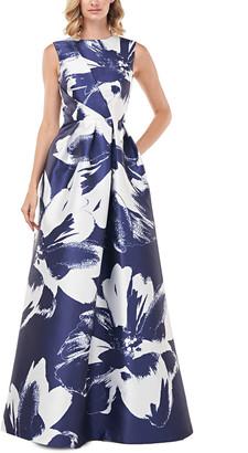 Kay Unger Kaitlyn Printed Floral Mikado Gown