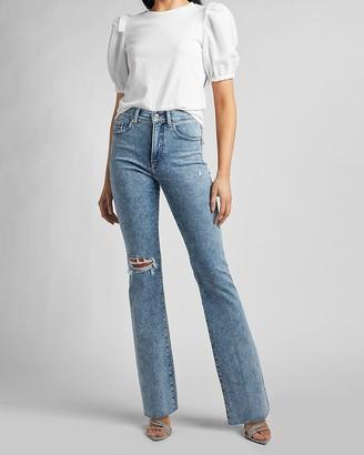 Express High Waisted Ripped Raw Hem Bootcut Jeans