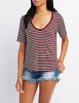 Charlotte Russe Striped Lace-Up Back Tee