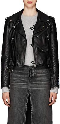 Balenciaga Women's Graffiti-Logo Leather Moto Jacket - Black