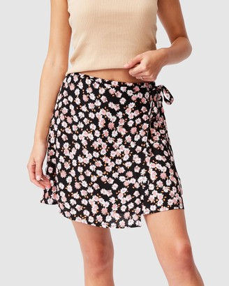 Cotton On Women's Black Mini skirts - Drew Wrap Mini Skirt - Size XS at The Iconic