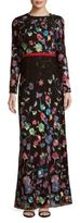 Monique Lhuillier Printed Long Sleeves Floor-Length Gown