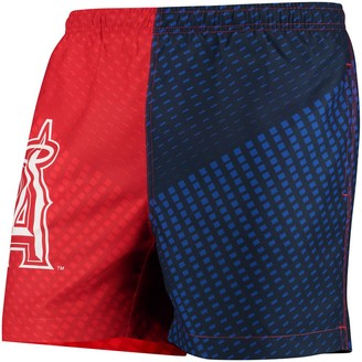 Men's Red/Navy Los Angeles Angels Color Block Swim Trunks