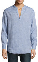 Perry Ellis Linen Popover Shirt
