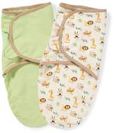 Summer Infant 2 Pack 100% Oragnic Cotton Knit Swaddleme, 7-14 Lbs, Small-Medium, Ivory/Green