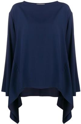 Alberta Ferretti boat neck waterfall blouse