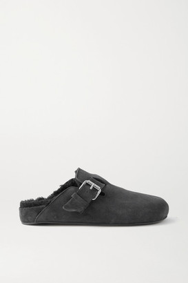 Isabel Marant Mirvin Studded Suede And Shearling Mules - Black