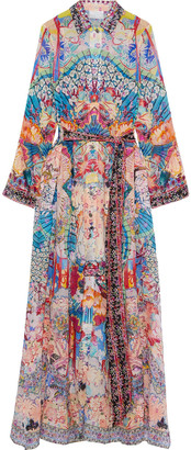 Camilla Cape-effect Crystal-embellished Printed Fil Coupe Silk-blend Maxi Dress