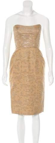 Chris Benz Strapless Brocade Dress