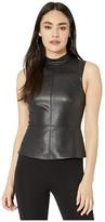 BCBGMAXAZRIA Faux Leather Top (Black) Women's Blouse