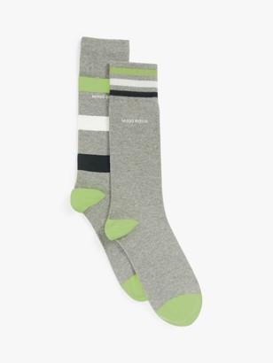 HUGO BOSS Regular Length Stripe Socks, Pack of 2