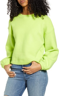 Lulus Bright Eyes Balloon Sleeve Crop Sweater