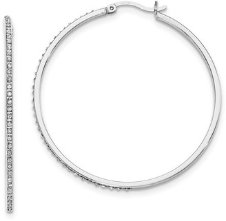 Curata Sterling Silver Diamond Accent Round Hinged Hoop Earrings -