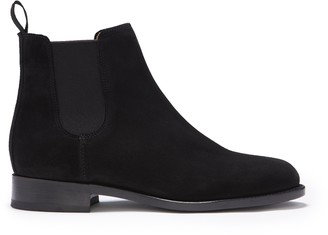 Hugs & Co Womens Black Suede Chelsea Boots Welted Leather Sole