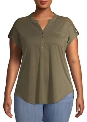 No Boundaries Juniors' Plus Size Mandarin Collar Lace Shoulder Utility Shirt