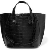 Victoria Beckham Tulip Small Croc-effect Leather Tote - Black