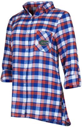 Women's Concepts Sport Royal/Orange Florida Gators Piedmont Flannel Long Sleeve Button-Up Nightshirt
