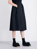 Simone Rocha Bead-embellished cotton-poplin midi skirt