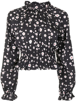 Cynthia Rowley Floral-Print High Neck Top
