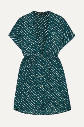 Vix Ventana Ocean Fuji Printed Voile Mini Dress - Navy