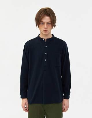 Beams Band Collar Pullover Shirt in Navy