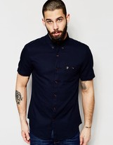 Farah Shirt with Textured Waffle Slim Fit Short Sleeves