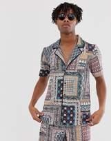 Sacred Hawk co-ord revere collar shirt in paisley print