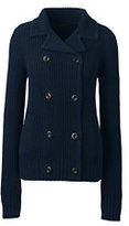 Classic Women's Lofty Shaker Sweater Jacket-Antique Ivory/Black