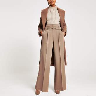 River Island Womens Brown wide leg belted trousers