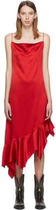 Marques Almeida Red Silk Peplum Dress