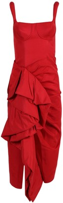 Rosie Assoulin Red Side Ruffle Cocktail Dress