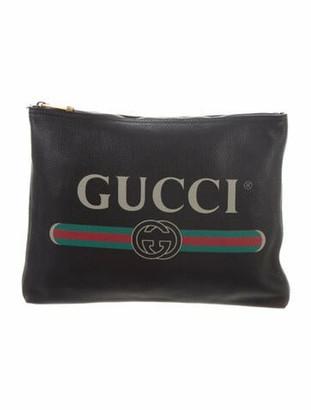 Gucci Logo Print Leather Zip Clutch Black