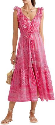 Anjuna Embroidered Printed Cotton-voile Midi Dress