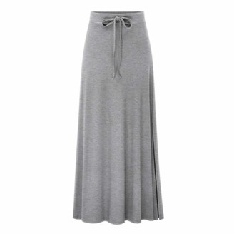 Celucke Women's Casual High Elastic Waist Slimming Skirt Lady Tight Long Solid Color Skirt Gray