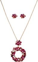 Bob Mackie Flowers Crystal Necklace & Earrings Set