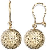 FINE JEWELRY 14K Yellow Gold Diamond-Cut Ball Drop Earrings