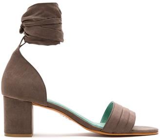 Blue Bird Shoes Tie Strap Block Heel Sandals
