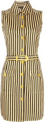 Fendi Pre Owned Striped Sleeveless Shirt Dress