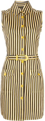 Fendi Pre-Owned Striped Sleeveless Shirt Dress